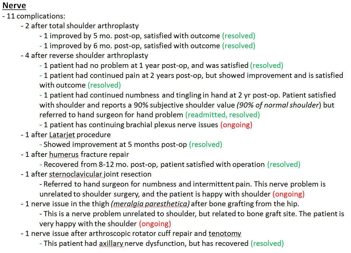 BSI summary of nerve issues text